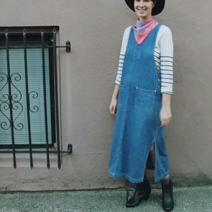 90s maxi denim pinafore